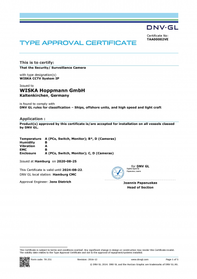 DNV GL Certificate CCTV Systems