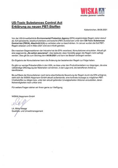 Erklärung zu neuen PBT-Stoffen
